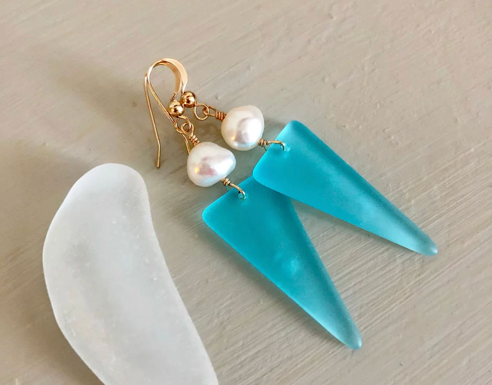 sea glass earrings in blue