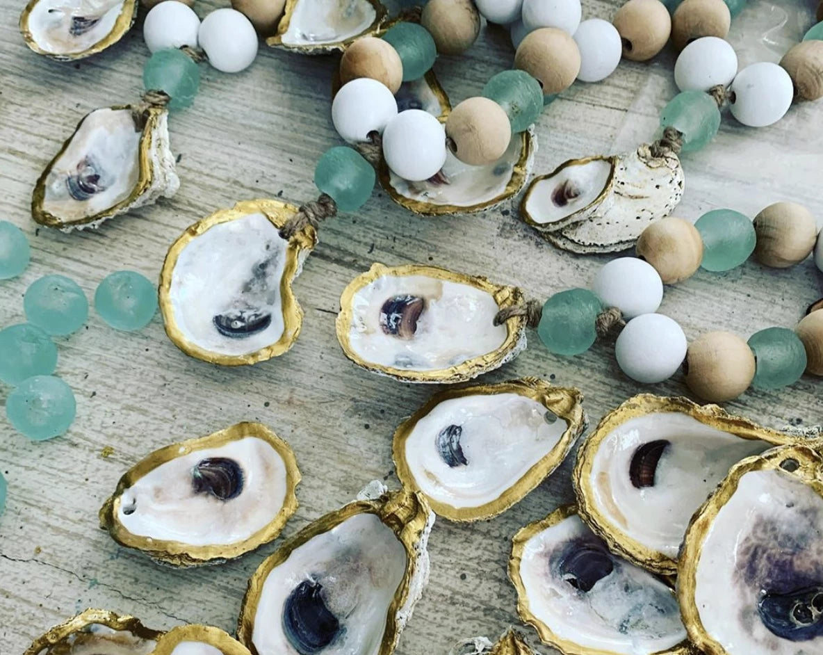 welcome beads with oyster shells