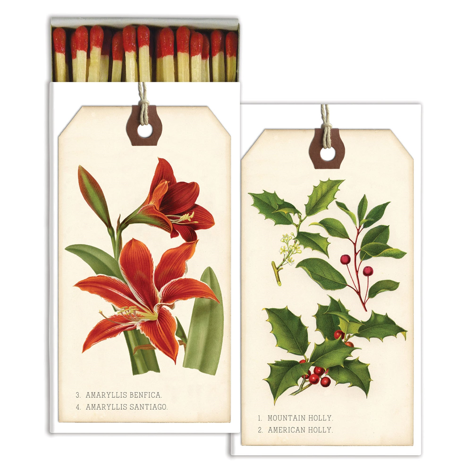 Matches - Holiday Botanical Tags - Red