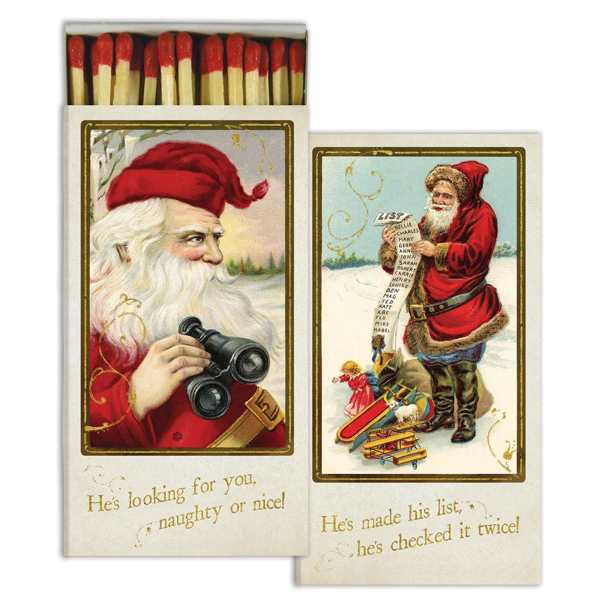 Matches - Santa's Watching - Gold Foil - CARLYLE AVENUE