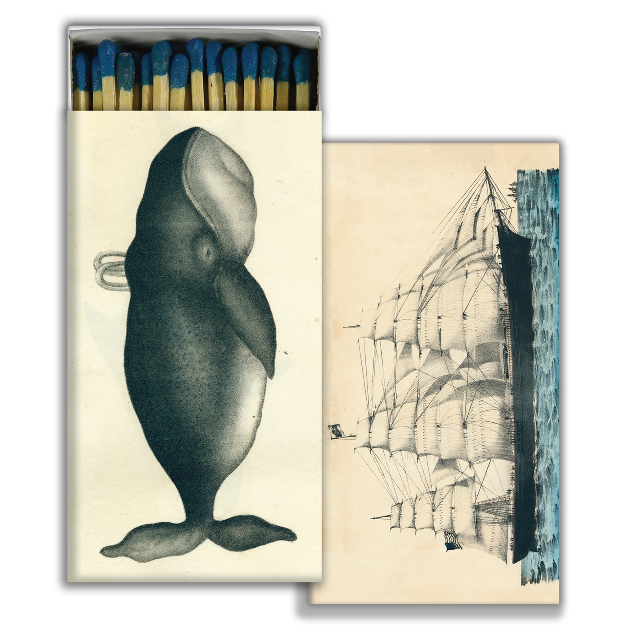 Matches - Whale & Clipper Ship - Blue - CARLYLE AVENUE