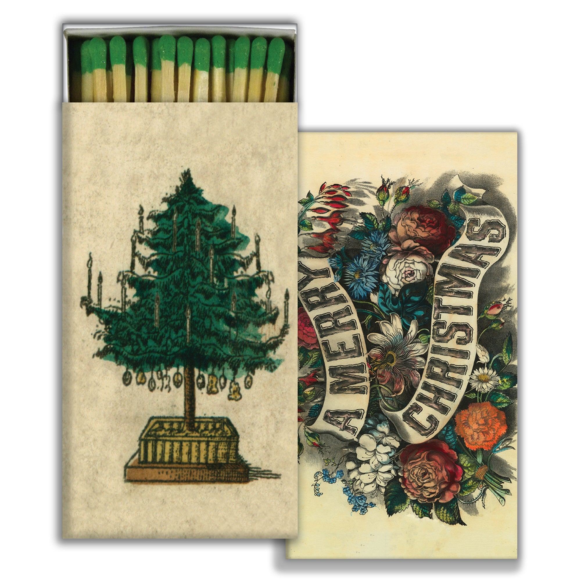 Matches - Holiday Tree & A Merry Christmas - Green