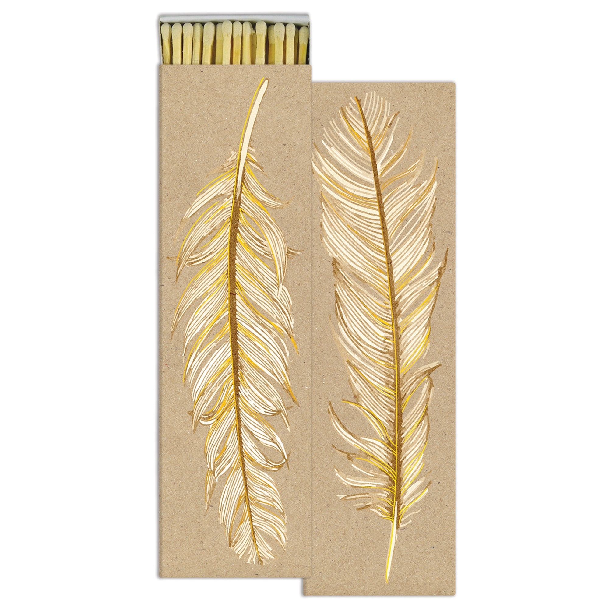 Long Matches - Ruffled Feather - Gold Foil - White