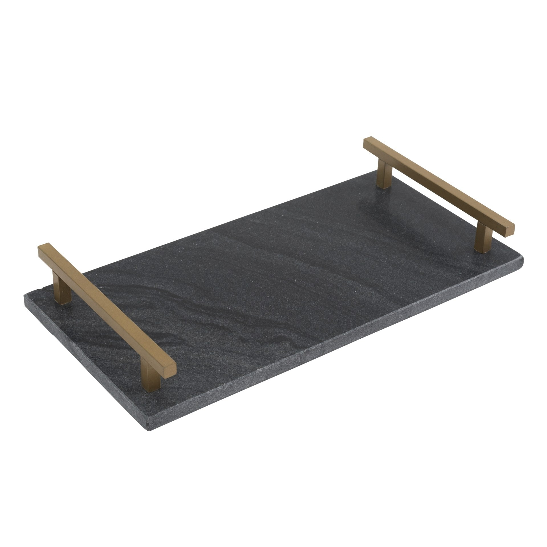 Black Marble Tray with Metal Chrome Handle - CARLYLE AVENUE