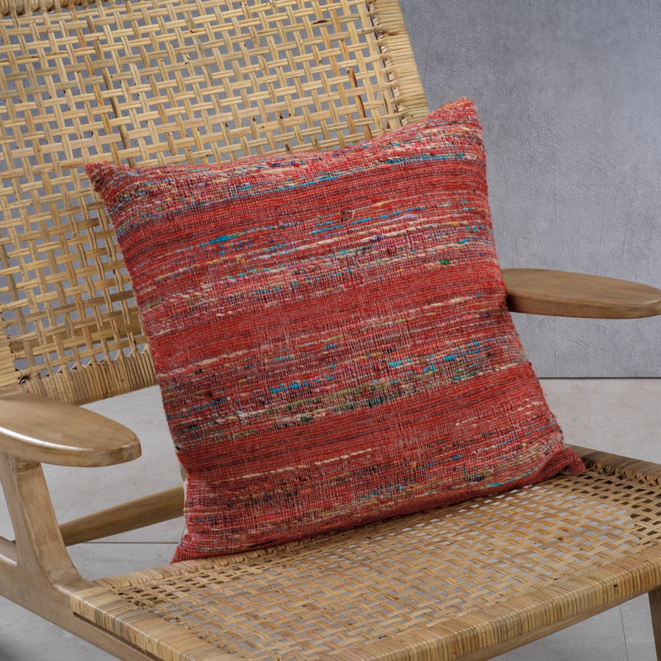 Masseria Cotton Throw Pillow - Multi Color w/ Coral Accent