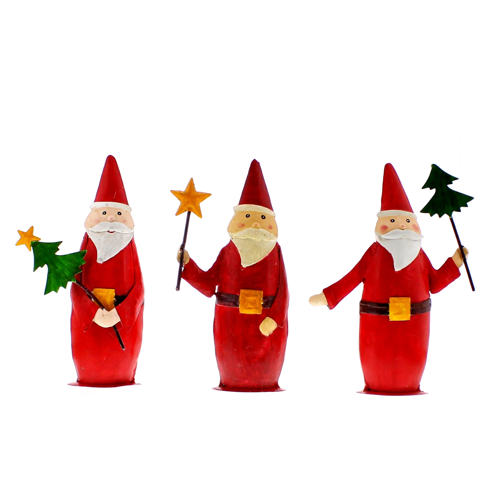 Painted Metal Santa Trio - Set of 3 - CARLYLE AVENUE
