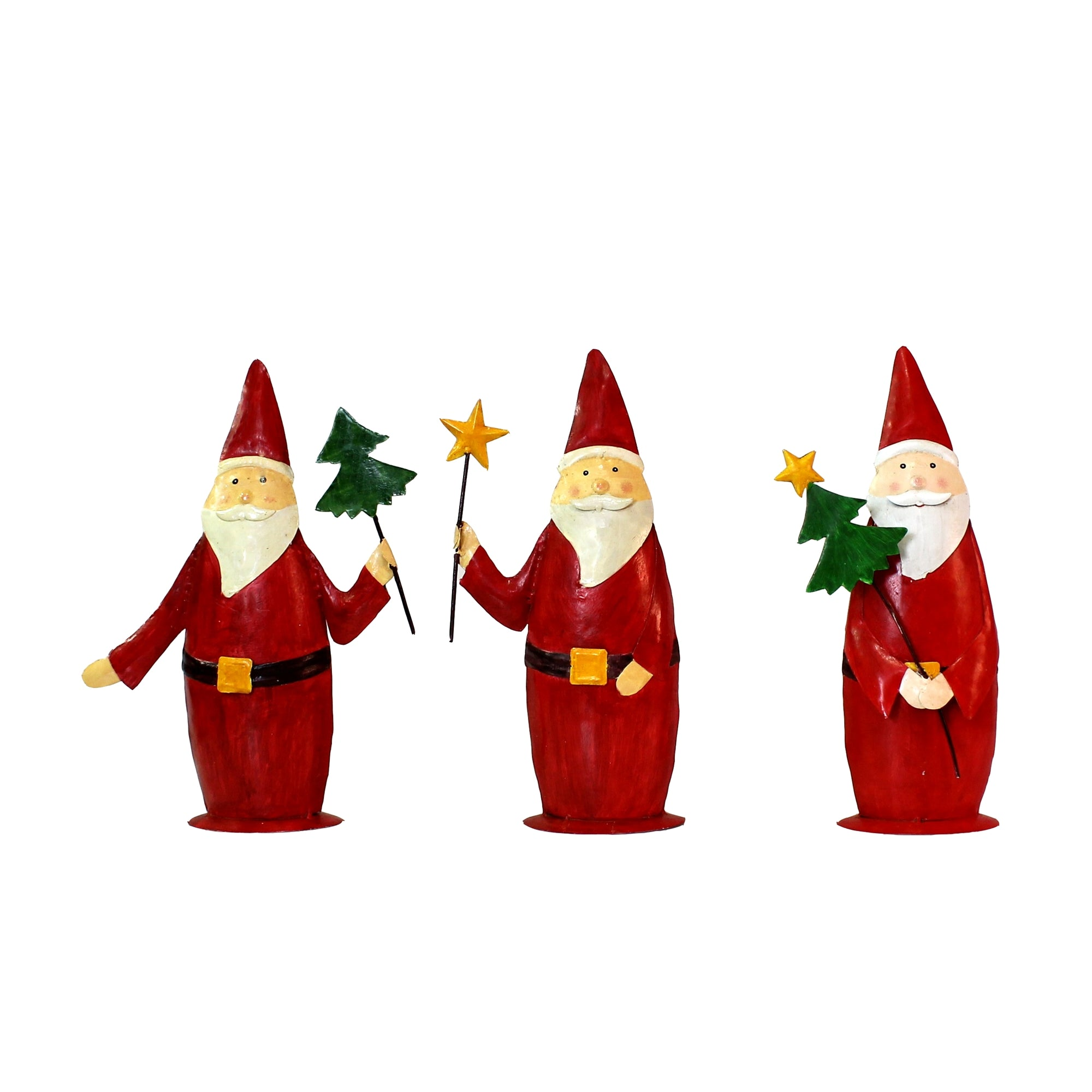 Painted Metal Santa Trio Large - Set of 3 - CARLYLE AVENUE