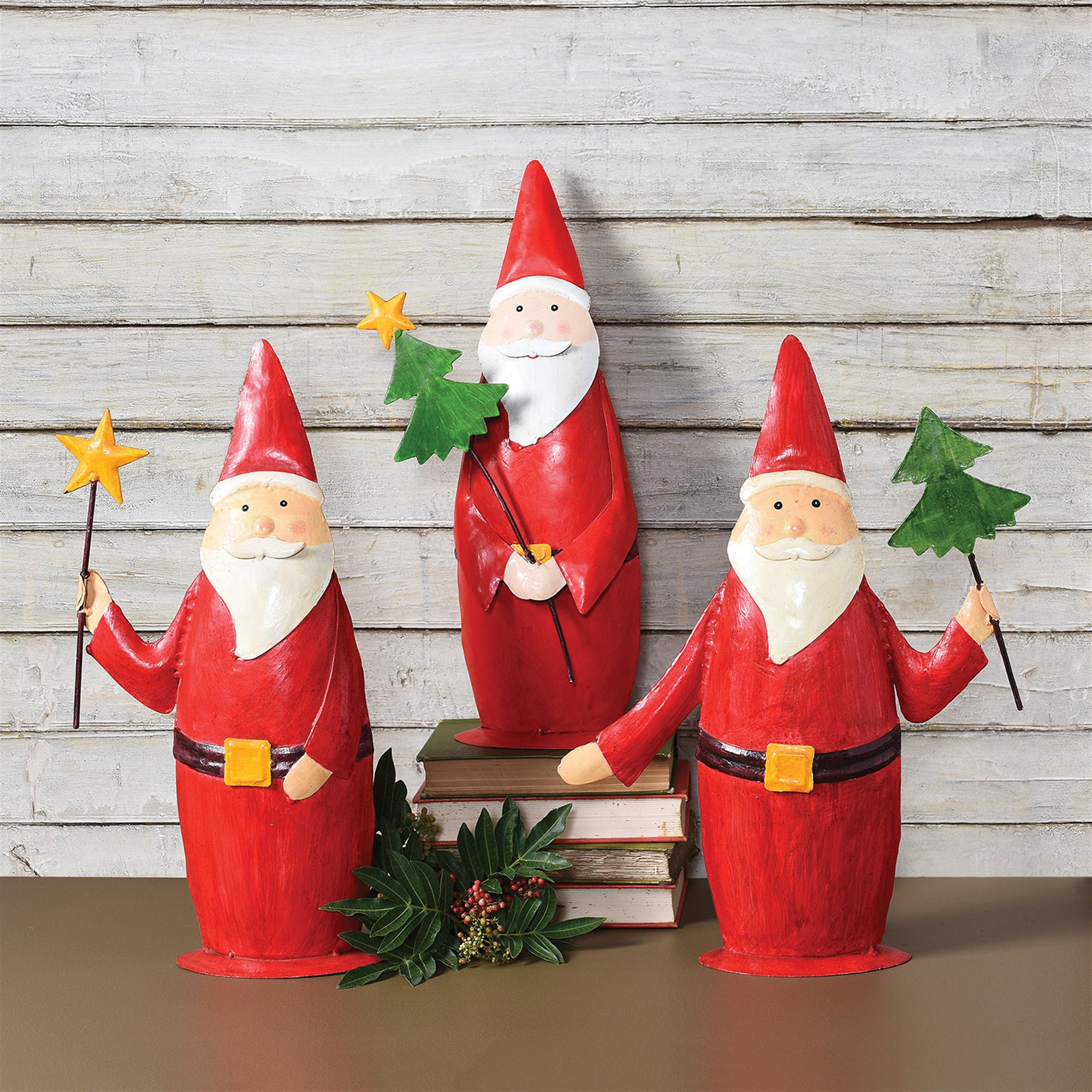 Painted Metal Santa Trio Large - Set of 3