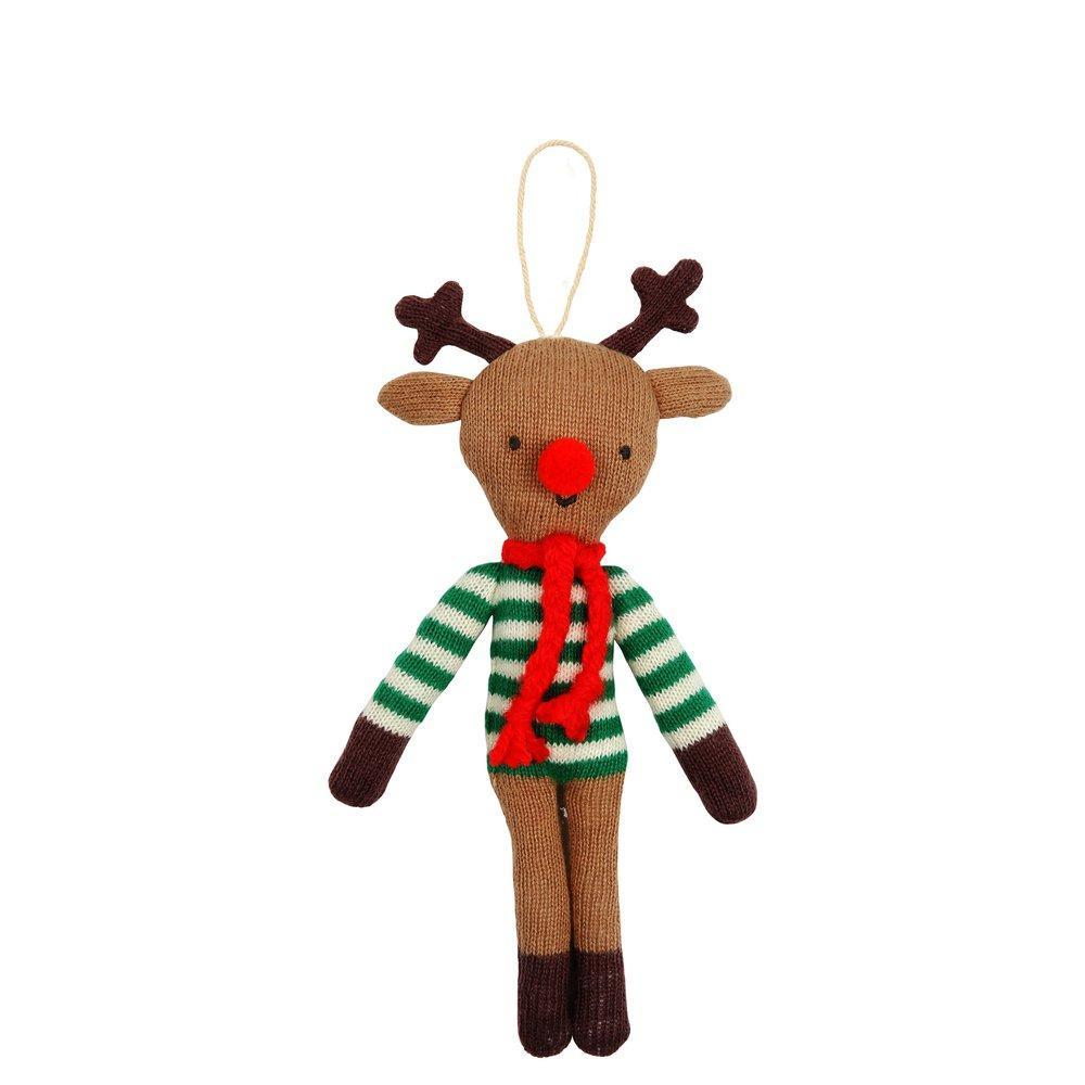 Stripy Reindeer Tree Decoration