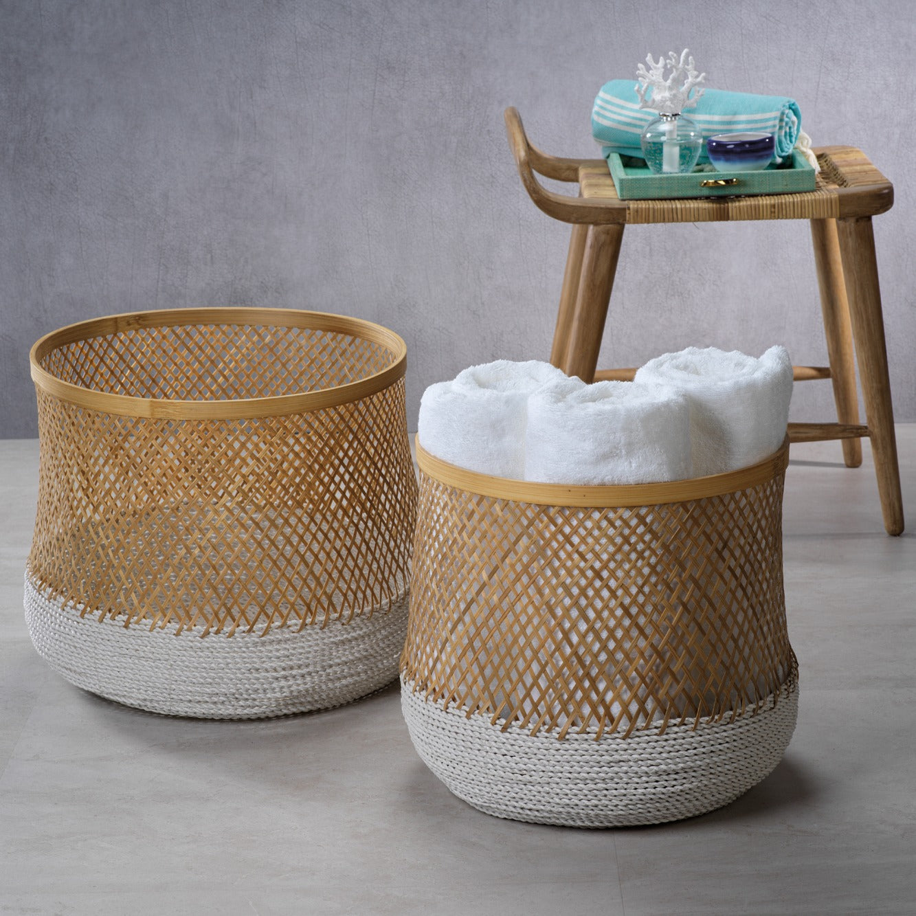 Andes Set of 2 Bamboo & Raffia Baskets