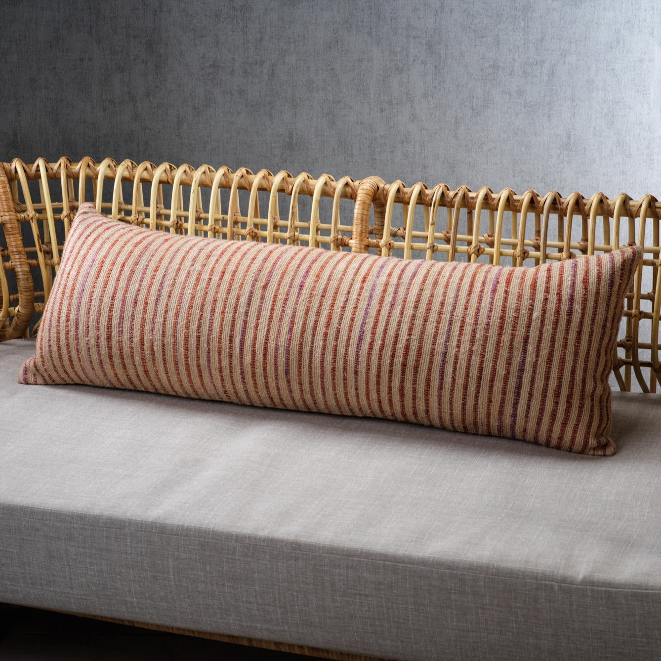 Masseria Cotton Lumbar Pillow - Multi Stripe Color