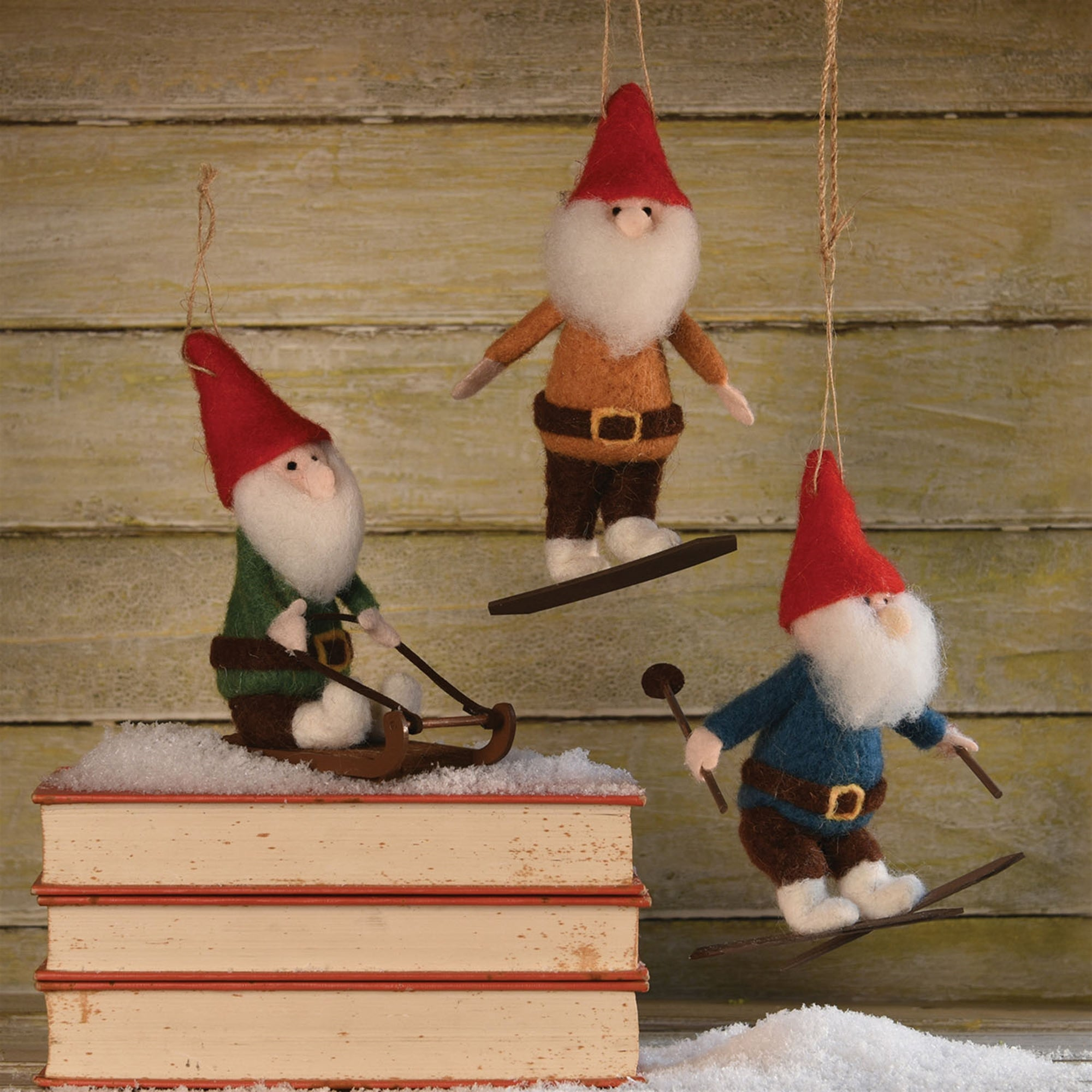 Felt Gnome Ornaments - Set of 3