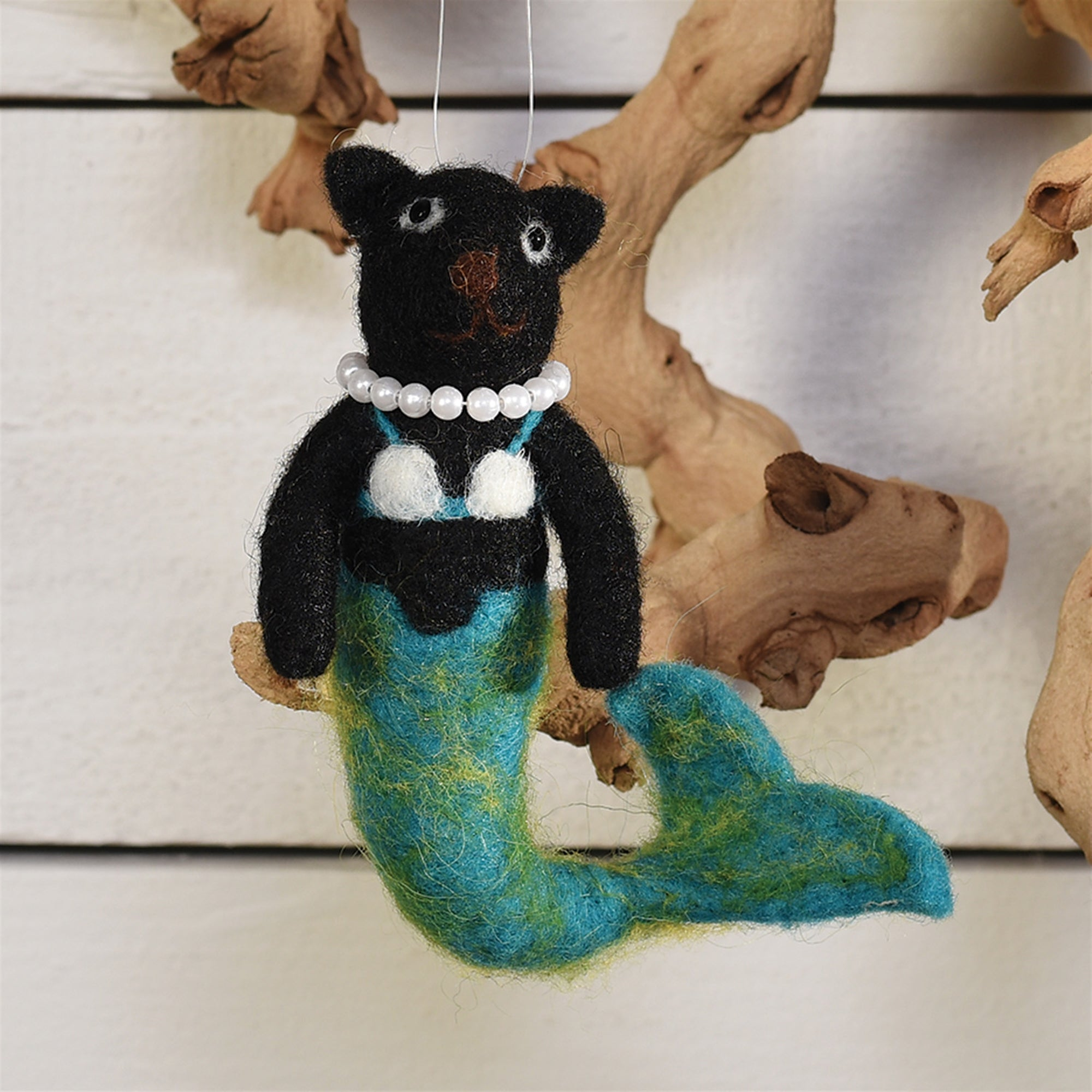 Felt Ornaments - Mermaid Cat - Black - CARLYLE AVENUE