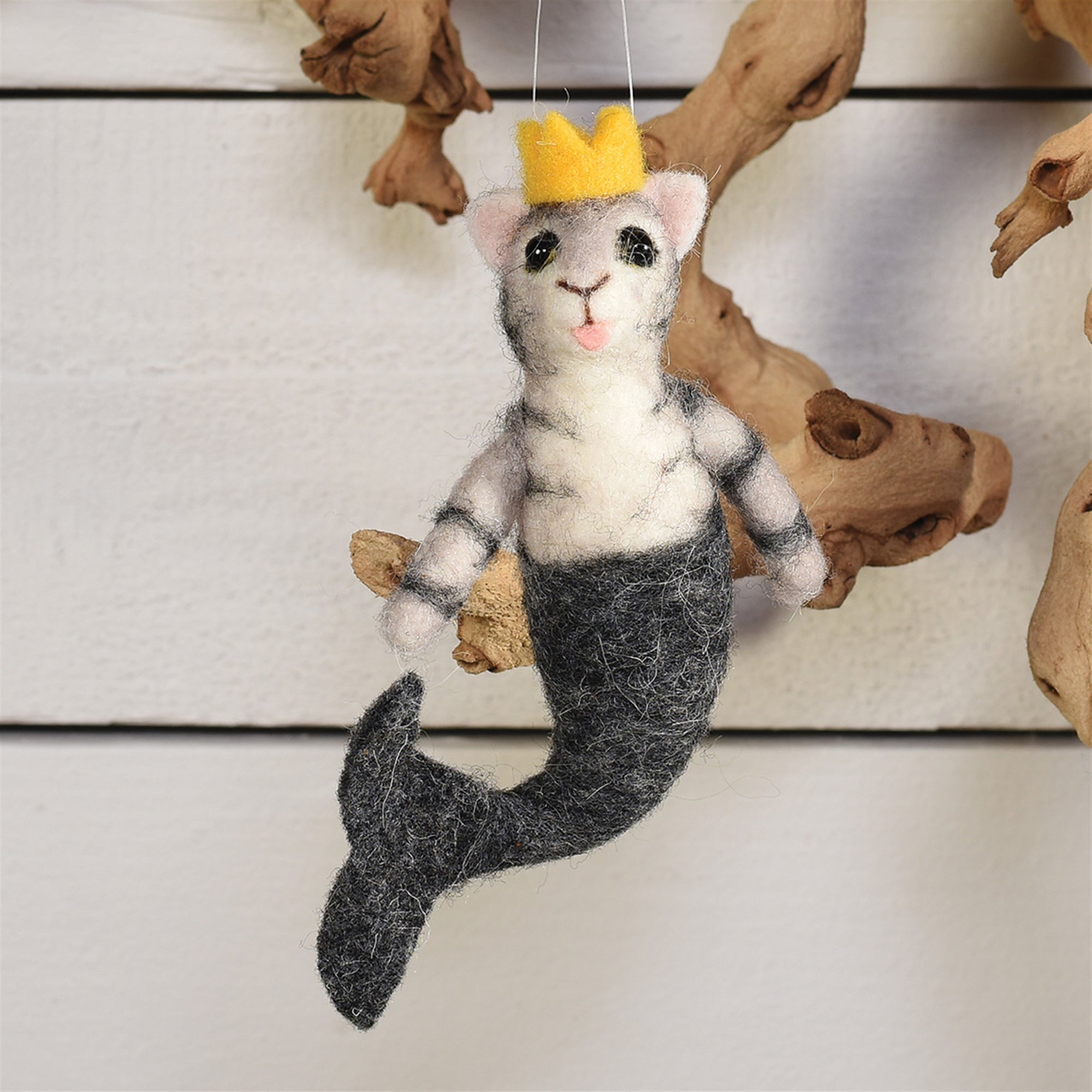 Felt Ornaments - Mermaid Cat - Grey - CARLYLE AVENUE