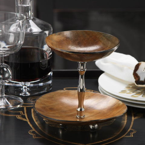Montecito Two Tier Round Horn Dish