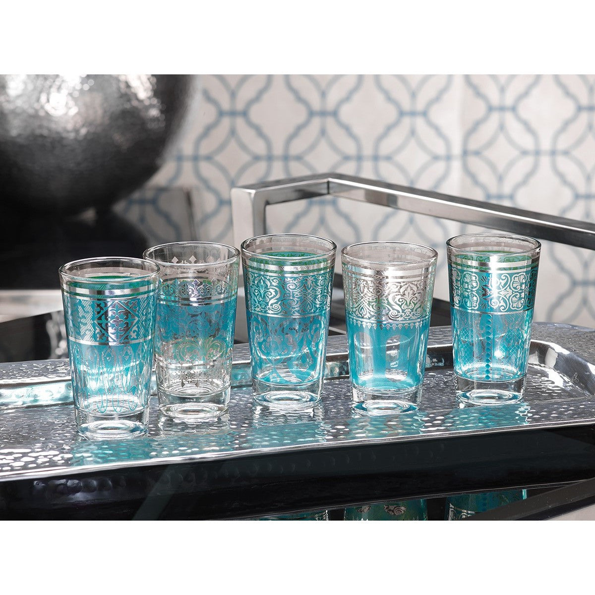 Casablanca Glass Tealight Holders - Blue - Set of 12 - CARLYLE AVENUE