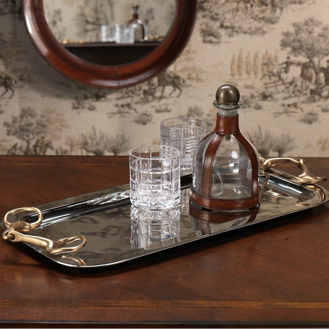Rectangular Tray with Horse Bit Handles