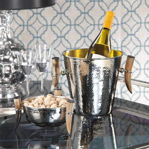 Casablanca Hammered Bowl and Ice Bucket with Horn Handles