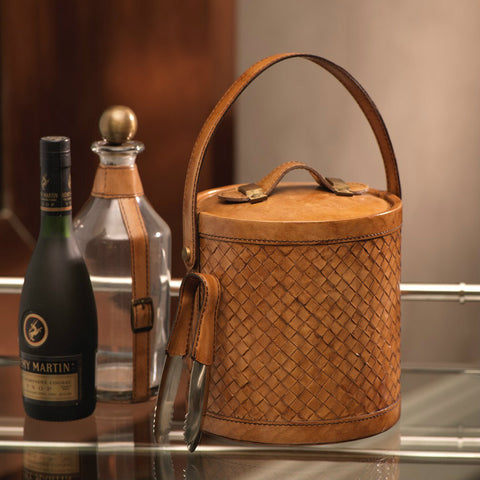 Heritage Weave Design Leather Ice Bucket