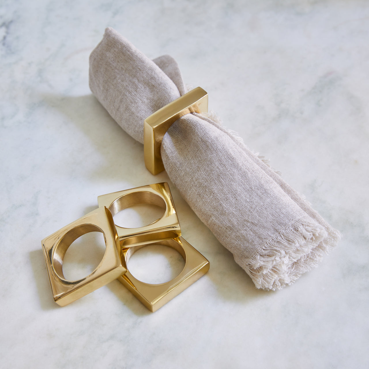 Brass Modernist Napkin Ring Set/2