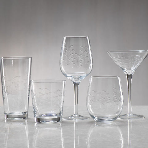 Coral Beach Fish Cut Glassware