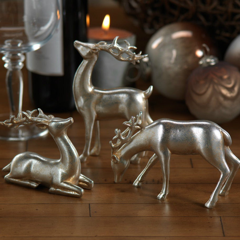 Decorative Silver Reindeer in Assorted Sizes - Set of 6 - Default Title - CARLYLE AVENUE - 2