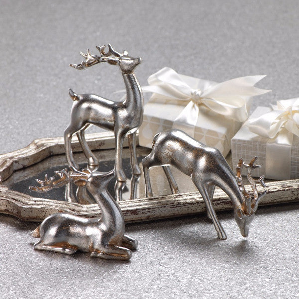 Decorative Silver Reindeer in Assorted Sizes - Set of 3 - CARLYLE AVENUE