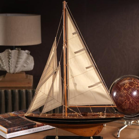 Small Wooden Model Sailboat