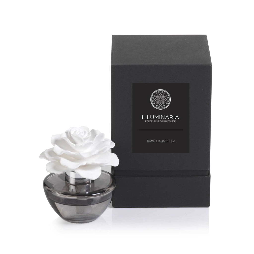 Illuminaria Porcelain Diffuser in Gray Bottle - Camellia Japonica - CARLYLE AVENUE - 2