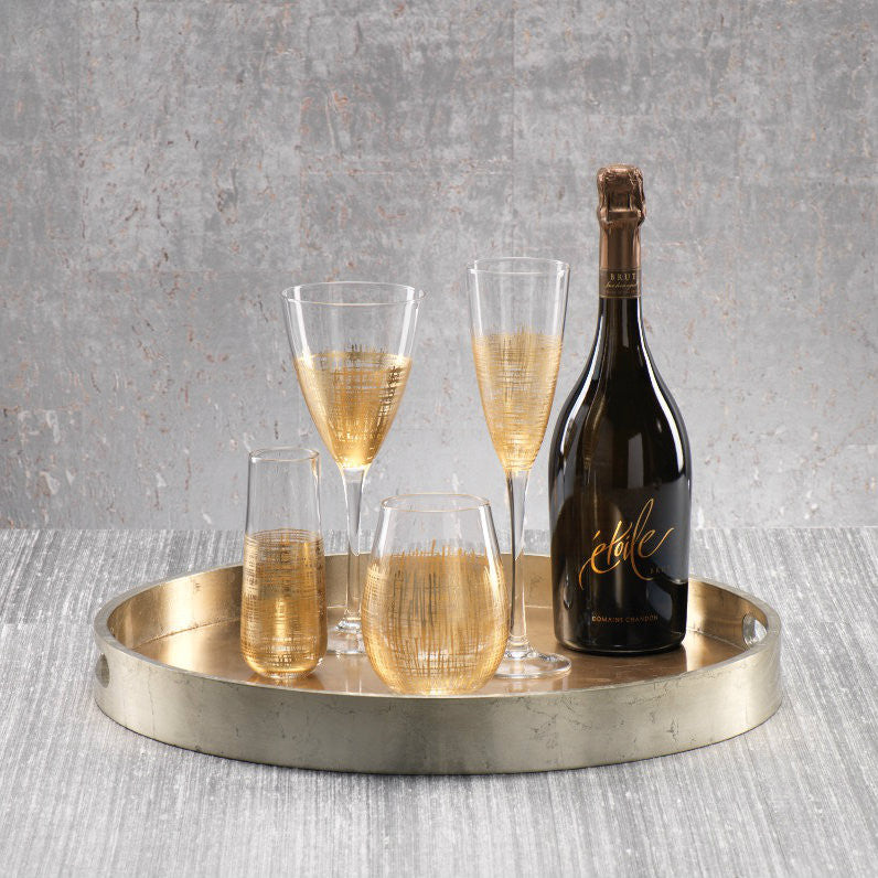 Gold Crosshatch Stemware - Set of 6 - CARLYLE AVENUE