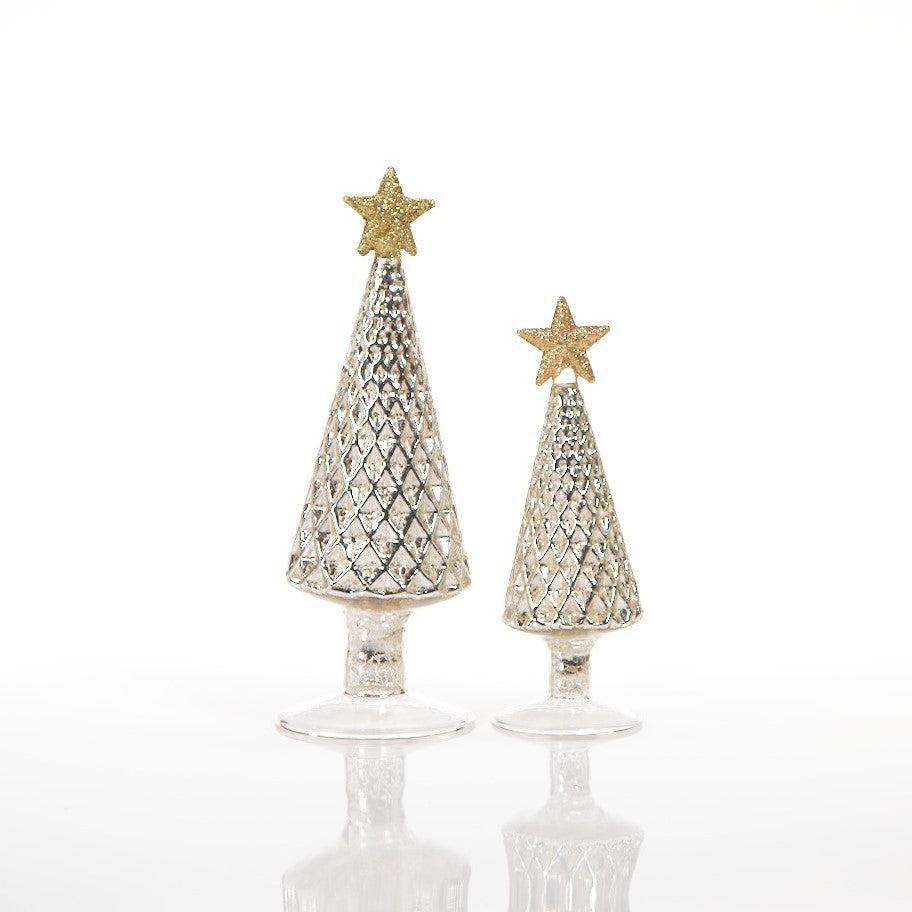 Diamond Design Glass Christmas Tree w/Star - Silver - CARLYLE AVENUE