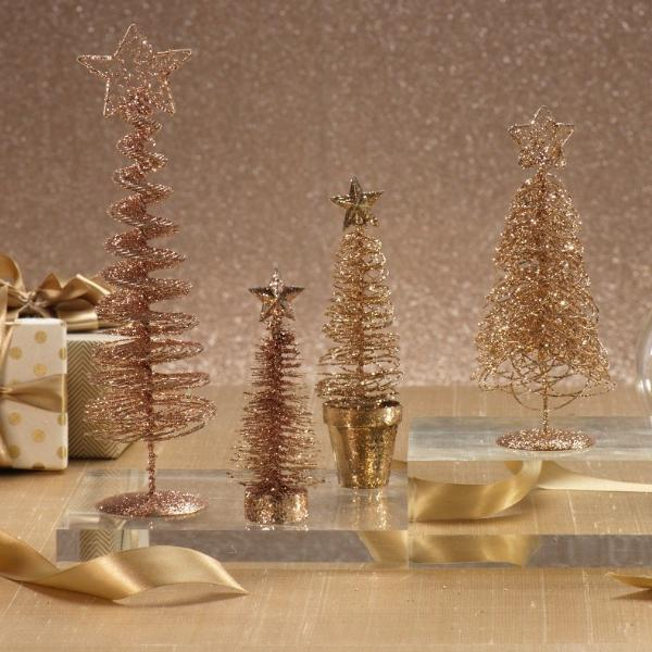 Glitter Wire Tree with Star Topper - Gold - CARLYLE AVENUE