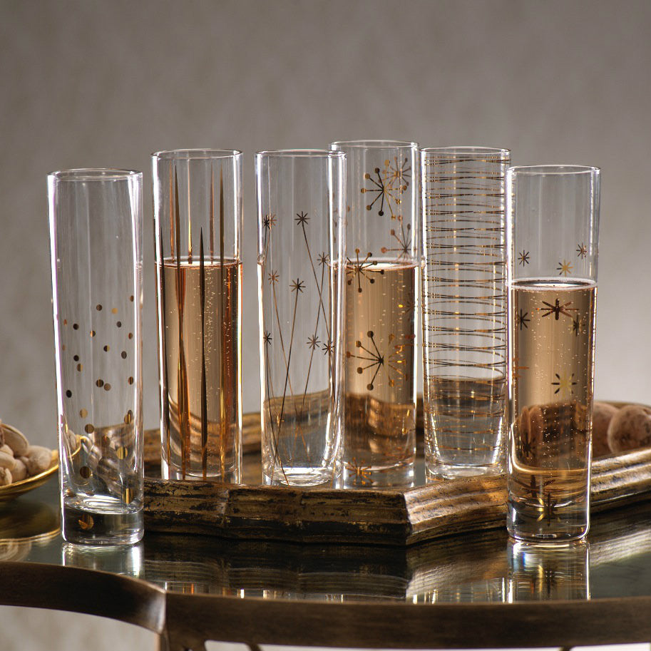 La Fête Golden Champagne Flutes - Set of 6 - Default Title - CARLYLE AVENUE - 1