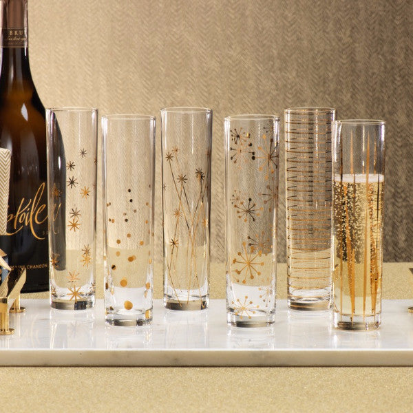 La Fête Golden Champagne Flutes - Set of 6