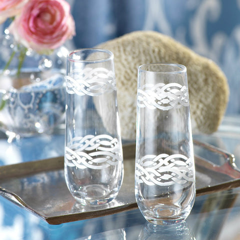 Nautical Braided Rope Champagne Flutes - Set of 4