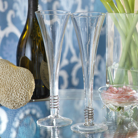 Silver Swirling Trumpet Champagne Flutes - Set of 6