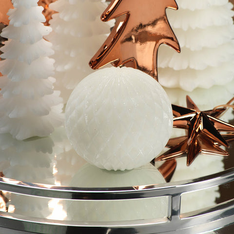 LED White Wax Glittering Snow Ball - Set of 4