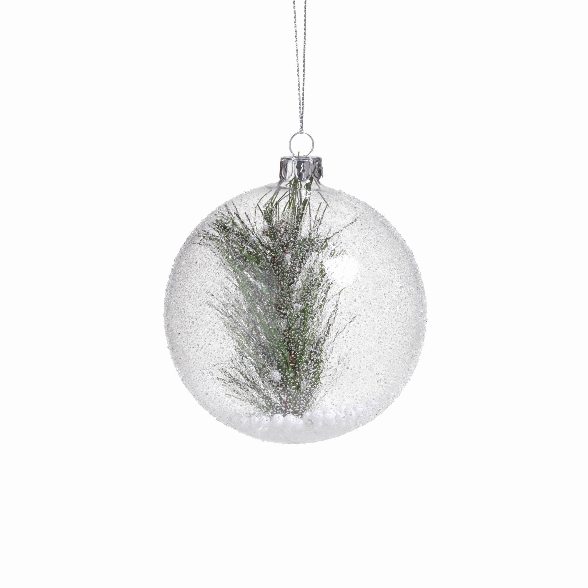 Clear Beaded Round Ornament w/ Pine Needle - CARLYLE AVENUE