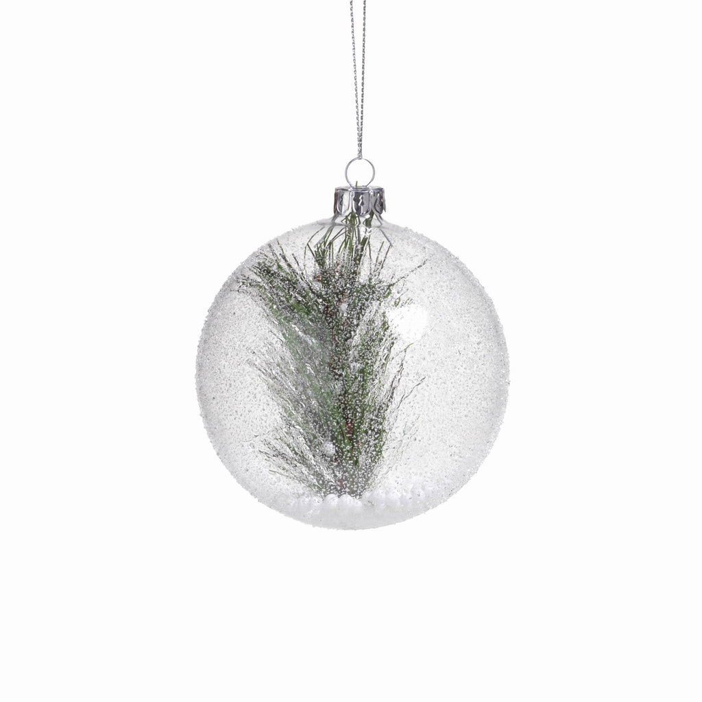 Clear Beaded Round Ornament w/ Pine Needle