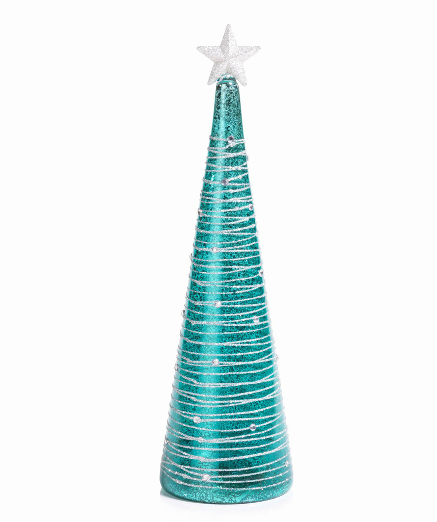 Turquoise and Silver LED Christmas Tree - Extra Tall - CARLYLE AVENUE - 6