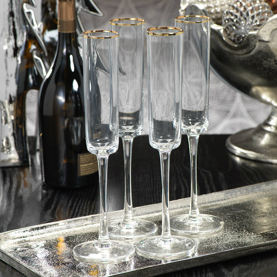 Tall Champagne Flutes with Gold Rim - Set of 6 -  - CARLYLE AVENUE - 2