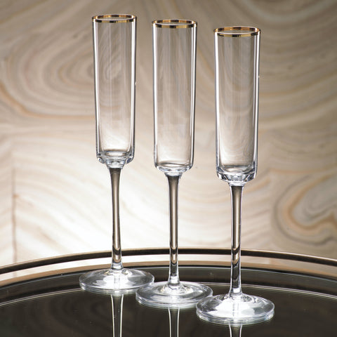 Tall Flutes with Gold Rim - Set of 6