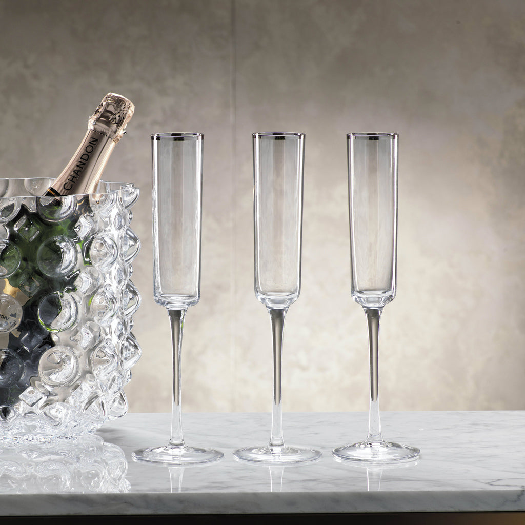 Tall Champagne Flutes with Silver Rim - Set of 6 -  - CARLYLE AVENUE - 1