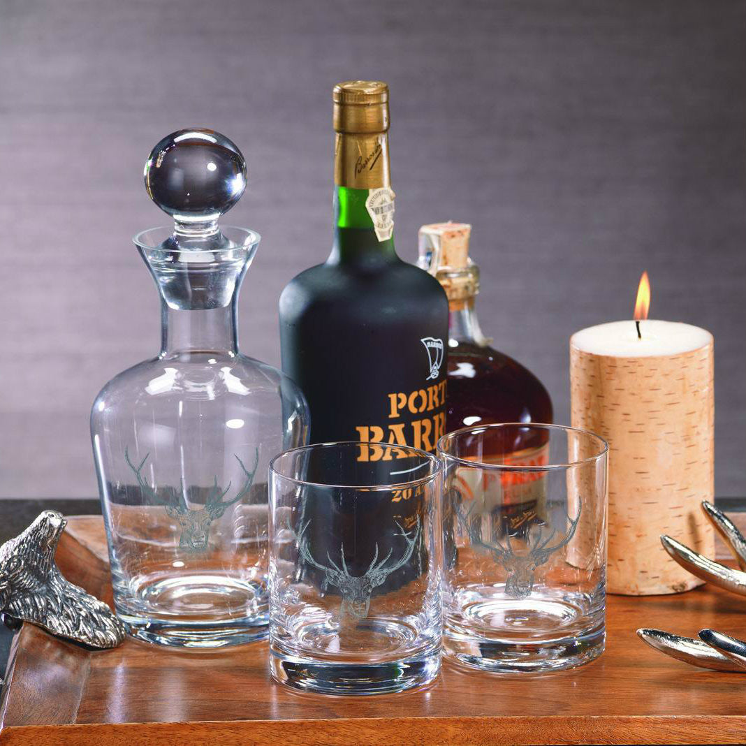 Stag Head Decanter and Glassware - CARLYLE AVENUE