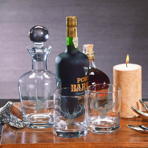 Stag Head Decanter and Glassware