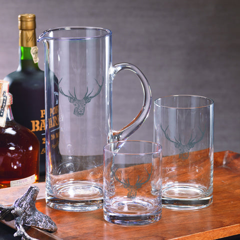 Stag Head Pitcher and Glassware