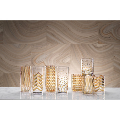 La Fête Golden Decal Glassware - Set of 6