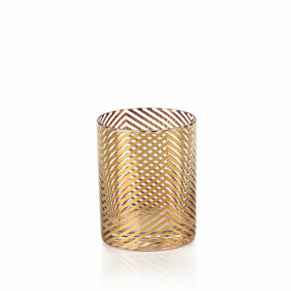 La Fête Golden Decal Glassware - Set of 6 - Skinny Chevron / Double Old Fashioned - CARLYLE AVENUE - 2