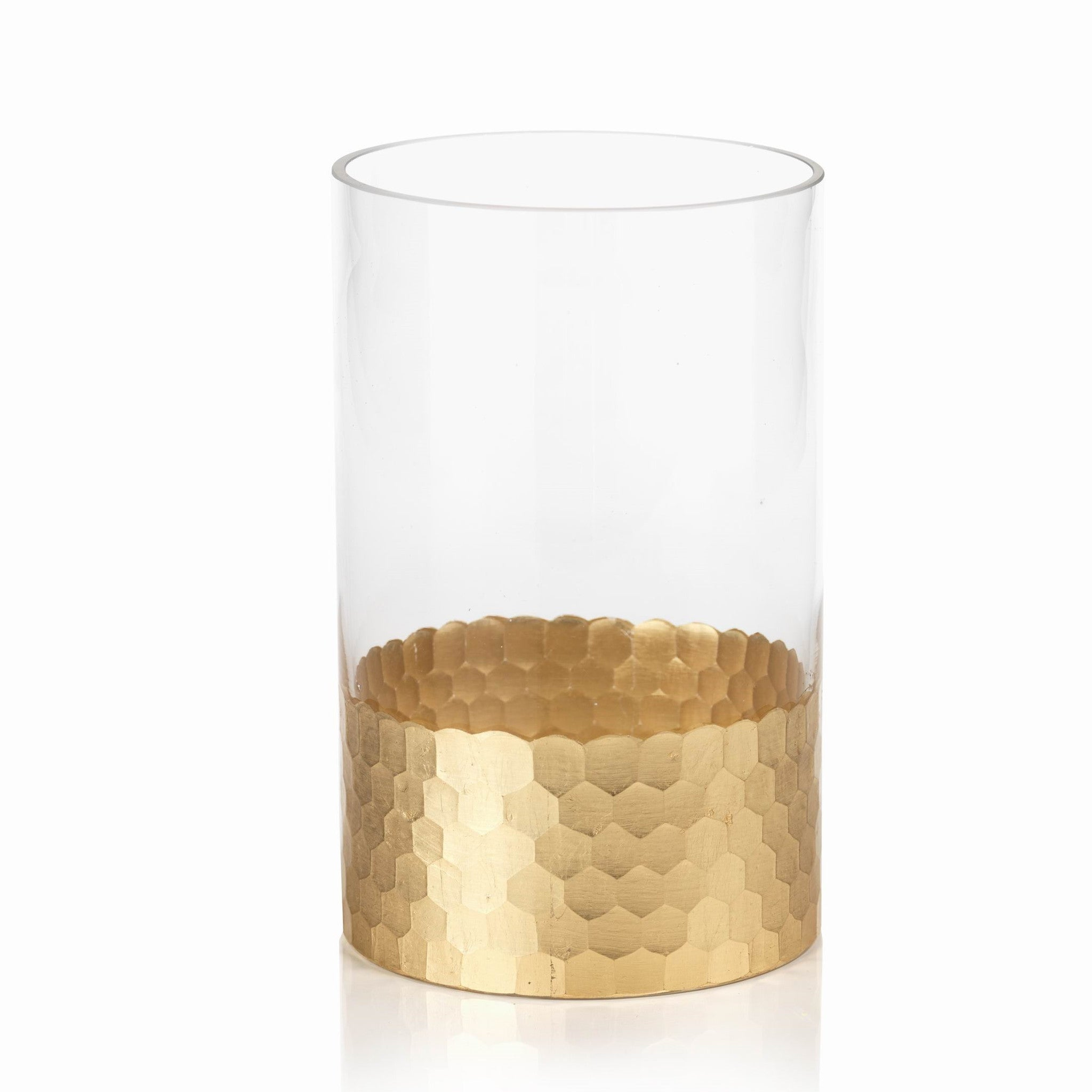 Fez Cut Glass Hurricane w/ Gold Leaf - CARLYLE AVENUE
