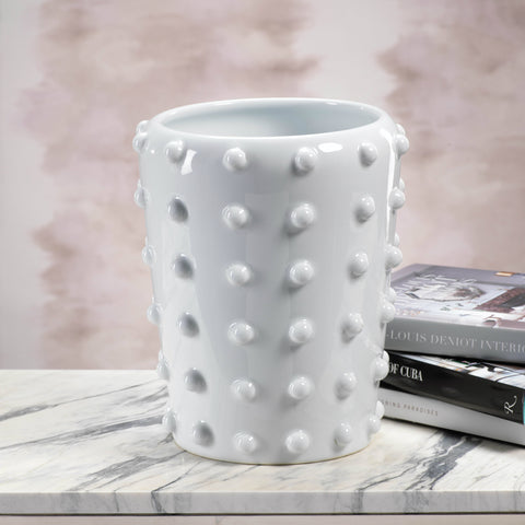White Studded Ceramic Vase